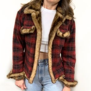 Tasha Polizzi Plaid Jacket Fur Trim Saddleblanket